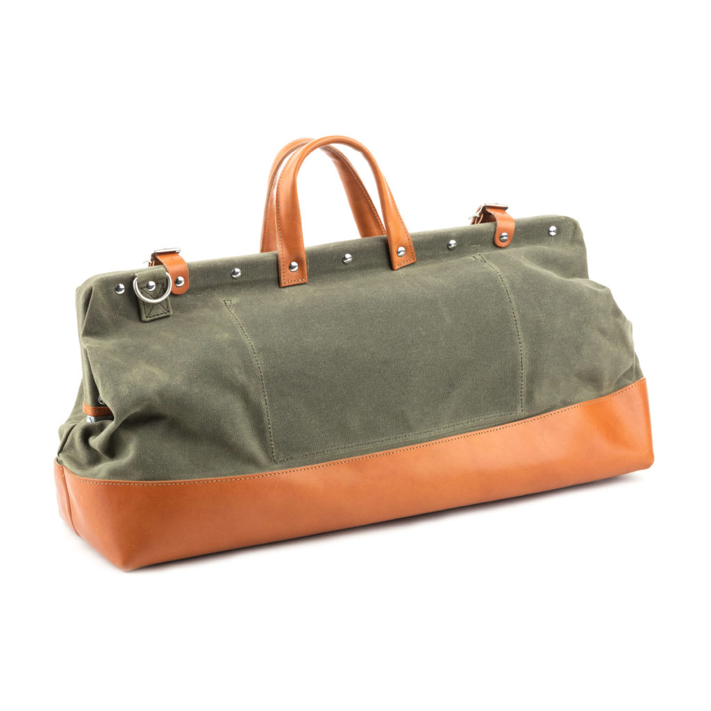 Leather and canvas duffel bag